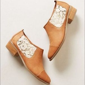 NEW Anthropologie Leather Laced Low Ankle Bootie